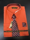 Men's L/S Dress Shirts W/ Tie & Handkerchief - Tomato  (Ties Vary)