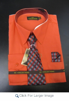 Men's L/S Dress Shirts W/ Tie & Handkerchief - Tomato  (Ties Vary) - Click to enlarge