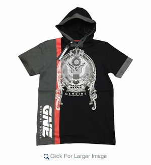 Short Sleeve Heavyweight Hooded Shirt - Trust None - Black - Click to enlarge