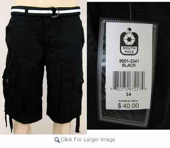 162270ea43 Southpole Men's Ripstop BLACK Cargo Shorts with Sidestrings - BLACK CARGO  SHORTS - Click to enlarge