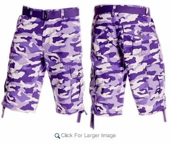 Southpole Men's Ripstop Bright Camo Cargo Shorts with Sidestrings ...