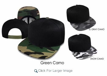 Square Visor Urban-Style Camo Hats - Buy 'Em Assorted or By Color - Click to enlarge