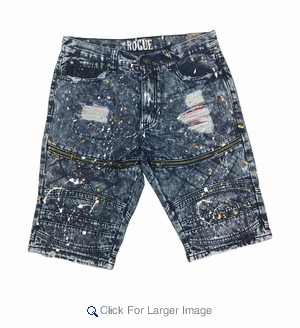 Wholesale Acid Wash Fashion Rip Repair Denim Shorts w/ Paint Quilted Effect - $22.50/pc - Click to enlarge