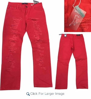 Wholesale Argonaut Rip Torn Color Jeans - $18.50/pc - M-ARG-2114-RD - Click to enlarge