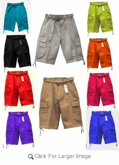 Wholesale Cargo Shorts with Belt - High Quality Twill Material - Click to enlarge