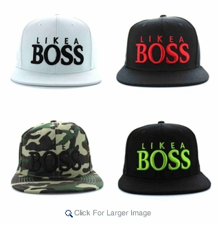 "Wholesale Embroidered ""Like A BOSS"" Snapback Hats - $4.50/pc - Click to enlarge"