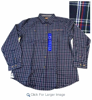 Wholesale Men's Boston Traders Plaid Blue Shirts - $10.50/pc - M-BT-1762-NV - Click to enlarge