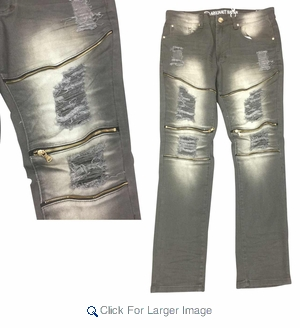 Wholesale Men's Fashion Moto Zipper Ripped Jeans - $23.50/pc. - Click to enlarge