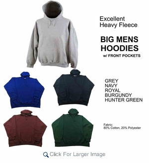 Wholesale Men's Heavyweight Baggy Fit Fleece Hoodies - $7.50/pc - M-TRO-1HOD-BIG - Click to enlarge