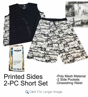 Wholesale Men's Poly Mesh 2-PC Sets - Black - Click to enlarge