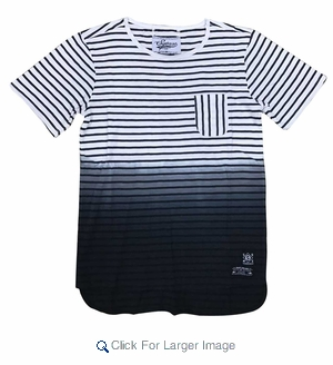 Wholesale Ombre Fade Striped Pocket Tee Black - M-SQR-1OMB-BK - Click to enlarge