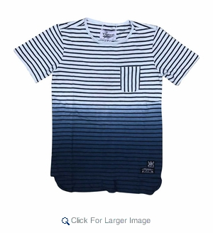 Wholesale Ombre Fade Striped Pocket Tee Navy - M-SQR-1OMB-NV - Click to enlarge