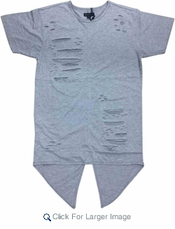 Wholesale Short Sleeve Rip Accent Shirts - $14.50 - M-SWI-1STT-GY - Click to enlarge