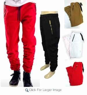 Wholesale Switch Multi-zipper Shirred-Leg Twill Jogger - $18.50/pc - M-SWI-2505 - Click to enlarge