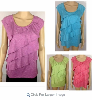 Wholesale Tiered Ruffle Tops by Rafaella - $5.50/pc - L-RAF-1TRF-ASST - Click to enlarge