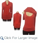 Women's Fashion Striped Mock Neck L/S Blouse with Tank Top - $8.50/pc - Click to enlarge