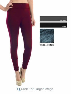Women's one-size fur-lined leggings - $3.90/pc - Click to enlarge
