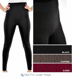Women's one-size cable knit leggings - $3.90/pc - Click to enlarge