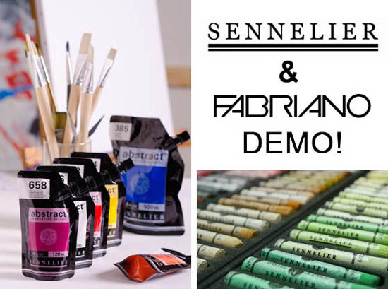 Sunday, Sept 17th Noon to 3pm - Sennelier Abstract Acrylic Paint, Sennelier Pastels, Fabriano Watercolor Paper and More!