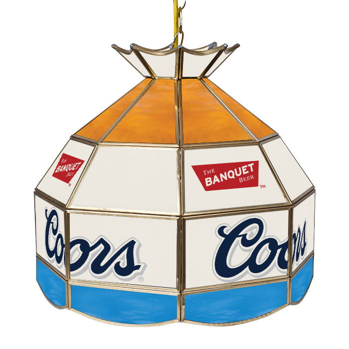 """Coors Light Stained Glass Pool Table Light: 16"""" Coors Light Stained Glass Banquet Tiffany Lamp"""