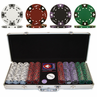 500 14g  Tri-Color Ace/King Suited Clay Poker Chip Set w/alum case