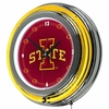 "NCAA Iowa State University 14"" Double Ringed Neon Clock"