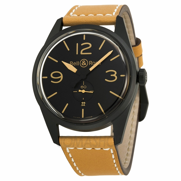 Bell and ross vintage black dial tan leather men 39 s watch brv123 heritage vintage bell and for Black tan watch
