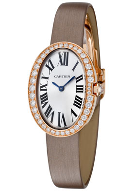 cartier baignoire diamond silver dial 18k rose gold ladies. Black Bedroom Furniture Sets. Home Design Ideas