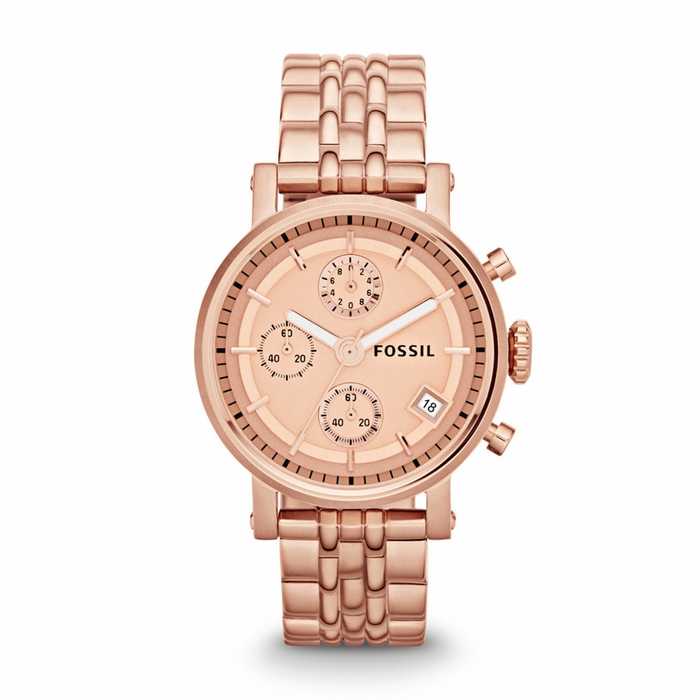fossil boyfriend chronograph rose gold tone dial rose gold stainless steel ladies watch es3380. Black Bedroom Furniture Sets. Home Design Ideas