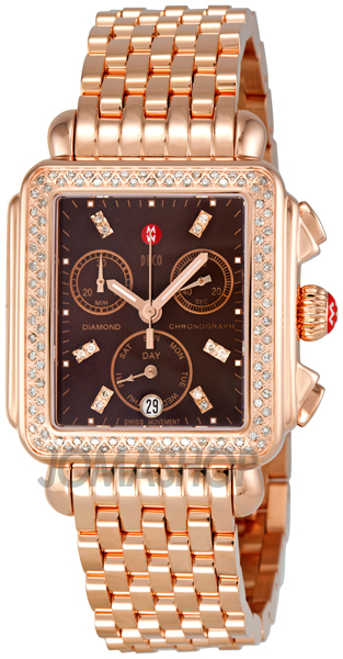 Michele deco day chronograph rose gold plated stainless for Deco maison rose gold