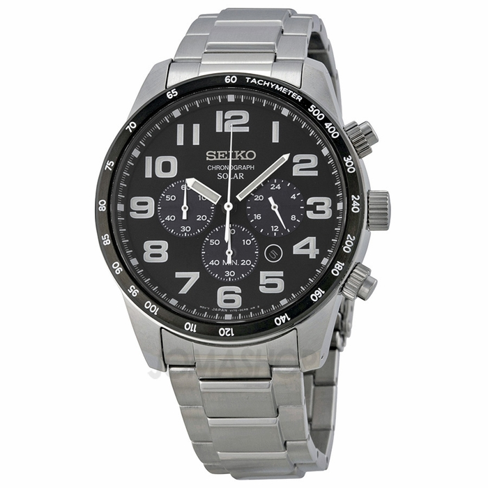 seiko solar chronograph black dial stainless steel men 39 s. Black Bedroom Furniture Sets. Home Design Ideas