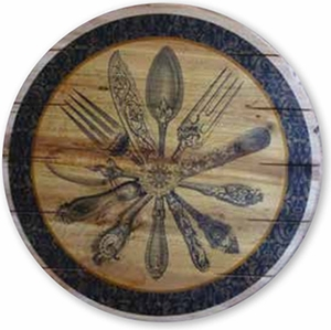 "16"" Flatware Wood Lazy Susan - Click to enlarge"