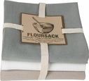 3 Piece Grey & White Floursack Kitchen Towel Set