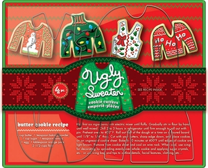4 Piece Ugly Sweater Cookie Cutter Set - Click to enlarge