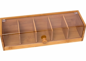 Bamboo Tea Box with Acrylic Lid - Click to enlarge