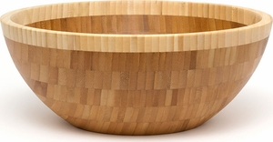 "Bamboo Two-Tone 12"" x 5"" Salad Bowl - Click to enlarge"