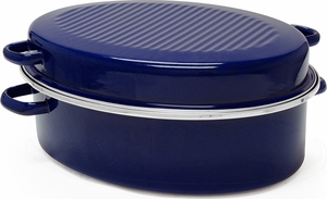 Chantal 11 Quart Covered Roaster Blue - Click to enlarge