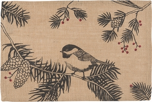 Chickadee Burlap Placemat - Click to enlarge