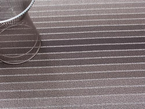 Chilewich Shag Rug Taupe Block Stripe - Click to enlarge