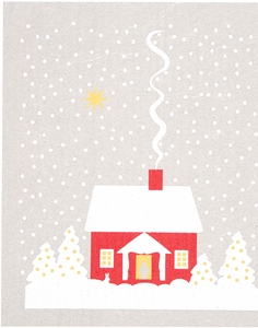 Cose Nuove Snowy House Swedish Dish Cloth - Click to enlarge