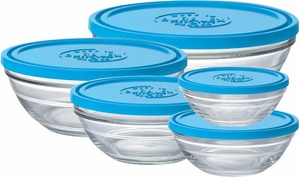 Duralex Set of 5 Glass Bowls with Lids - Click to enlarge