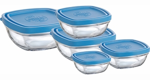 Duralex Set of 5 Square Glass Bowls with Lids - Click to enlarge