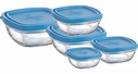 Duralex Set of 5 Square Glass Bowls with Lids