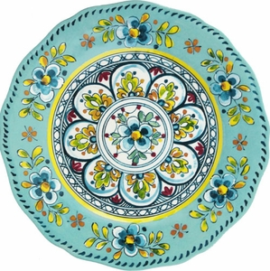 Le Cadeaux Madrid Turquoise 11&#34 Dinner Plate - Click to enlarge