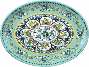 Le Cadeaux Madrid Turquoise 16&#34 Oval Platter - Click to enlarge