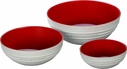 Le Creuset Set of 3 White Bowls- Cerise