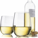 Libbey Set of 4 Stemless White Wine Glasses