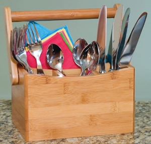 Lipper Bamboo Flatware Caddy With Folding Handle - Click to enlarge