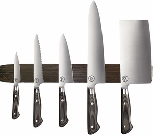 michael symon 6 pc knife set with bamboo magnetic strip 4026. Black Bedroom Furniture Sets. Home Design Ideas