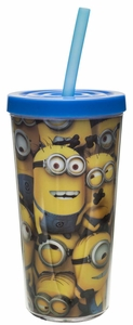Minions Double Walled Tumbler With Straw - Click to enlarge